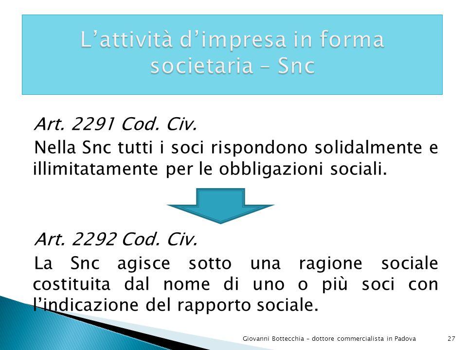 L'attività d'impresa in forma societaria – Snc