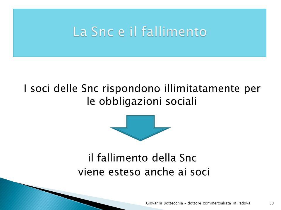 La Snc e il fallimento I soci delle Snc rispondono illimitatamente per le obbligazioni sociali il fallimento della Snc viene esteso anche ai soci