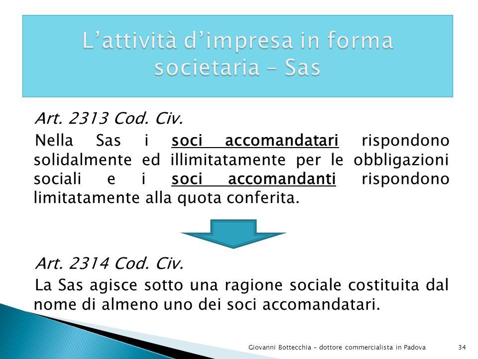 L'attività d'impresa in forma societaria – Sas