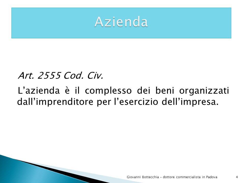 Azienda Art. 2555 Cod. Civ. L'azienda è il complesso dei beni organizzati dall'imprenditore per l'esercizio dell'impresa.
