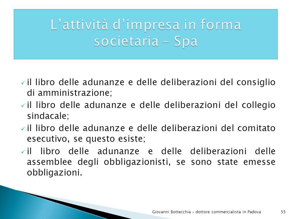 L'attività d'impresa in forma societaria – Spa
