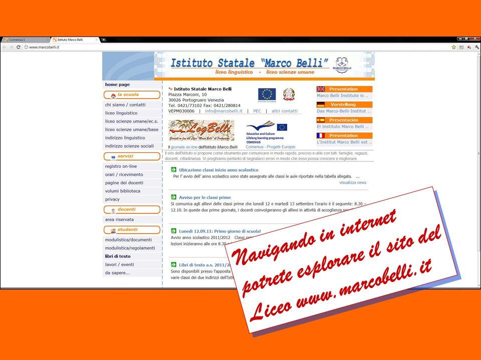 Navigando in internet potrete esplorare il sito del Liceo www