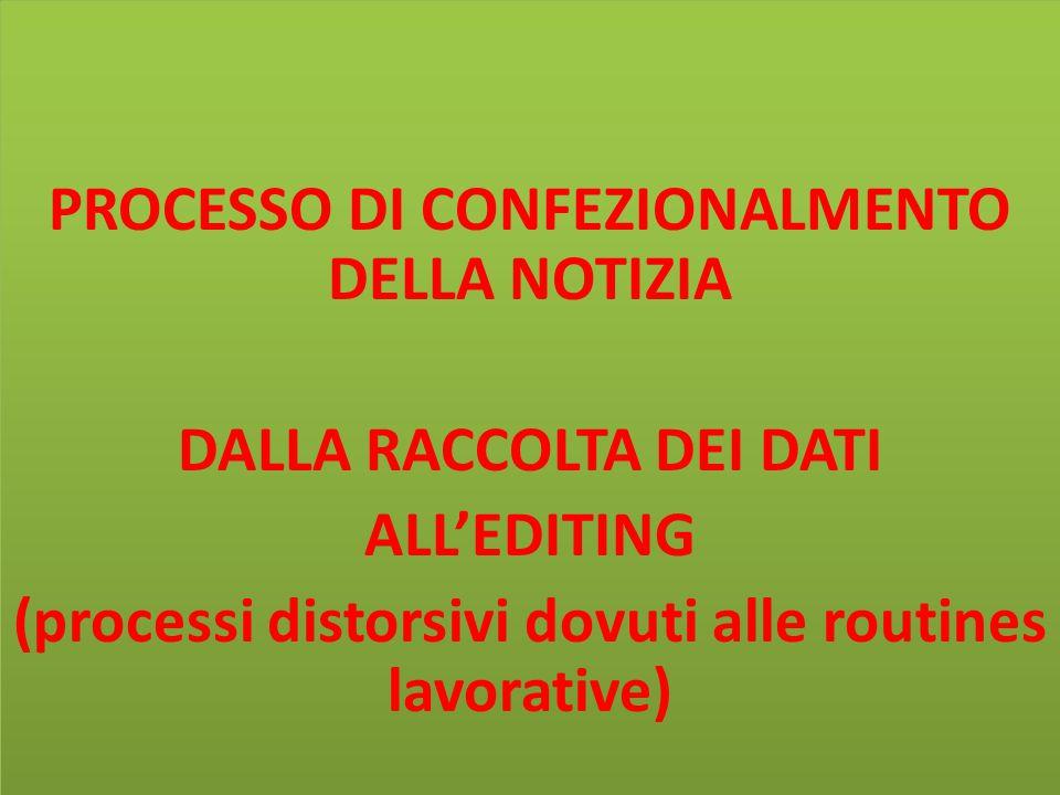 PROCESSO DI CONFEZIONALMENTO DELLA NOTIZIA DALLA RACCOLTA DEI DATI ALL'EDITING (processi distorsivi dovuti alle routines lavorative)