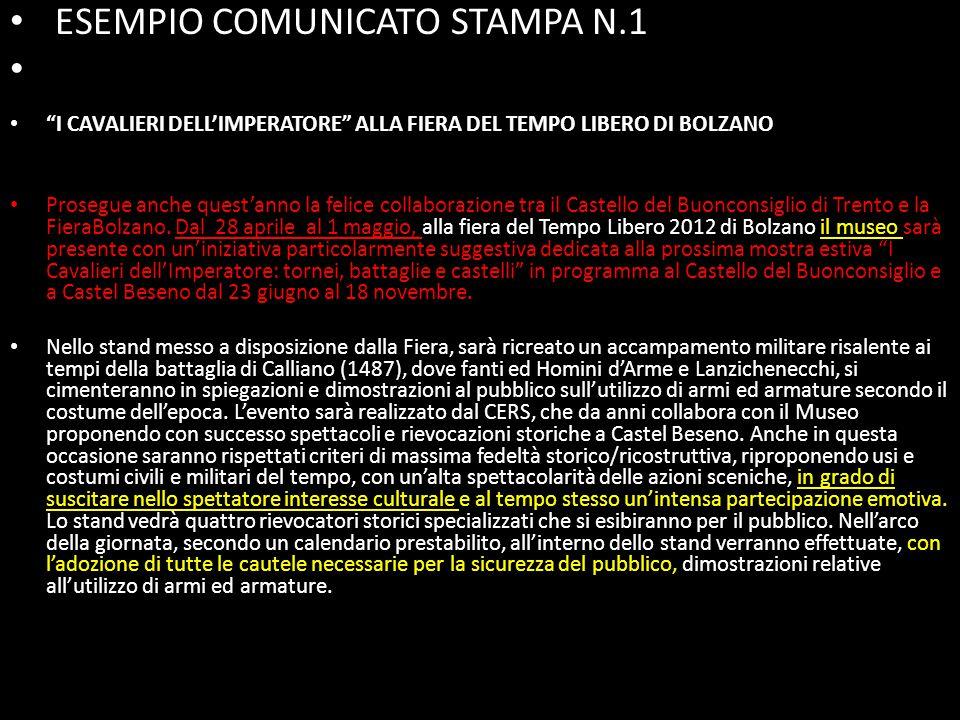 ESEMPIO COMUNICATO STAMPA N.1