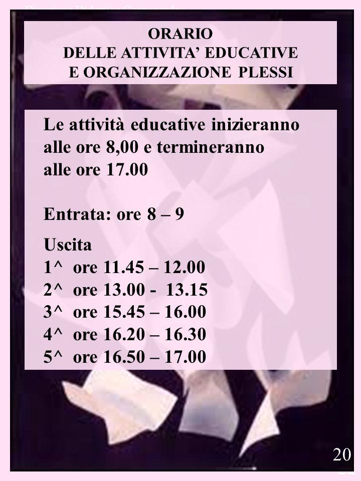 DELLE ATTIVITA' EDUCATIVE E ORGANIZZAZIONE PLESSI