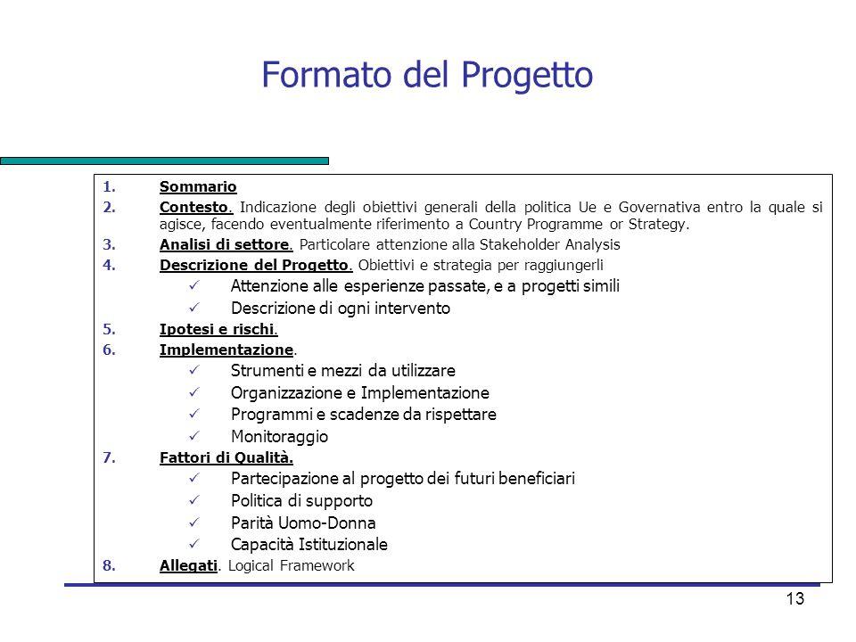 Formato del Progetto Sommario.