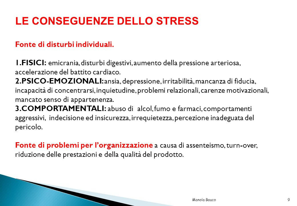 LE CONSEGUENZE DELLO STRESS