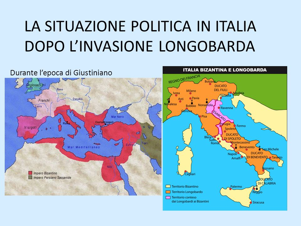 LA SITUAZIONE POLITICA IN ITALIA DOPO L'INVASIONE LONGOBARDA