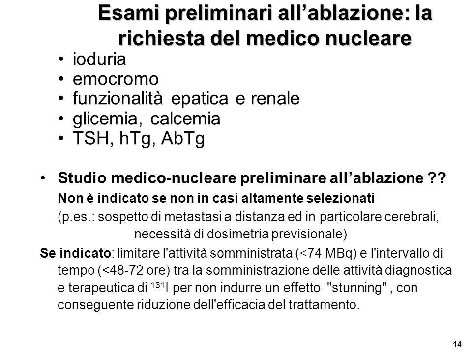 Esami preliminari all'ablazione: la richiesta del medico nucleare