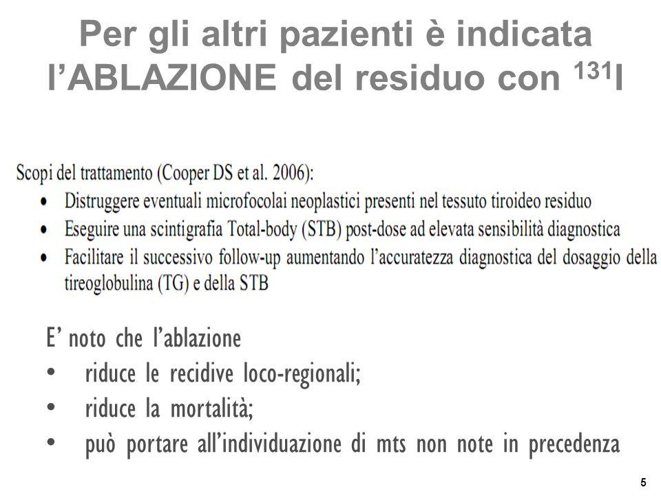 Per gli altri pazienti è indicata l'ABLAZIONE del residuo con 131I