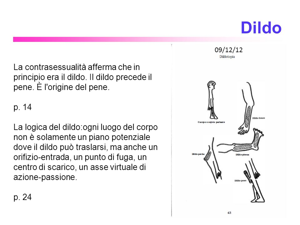 4 Dildo. 09/12/12. La contrasessualità afferma che in principio era il dildo. Il dildo precede il pene. È l origine del pene.