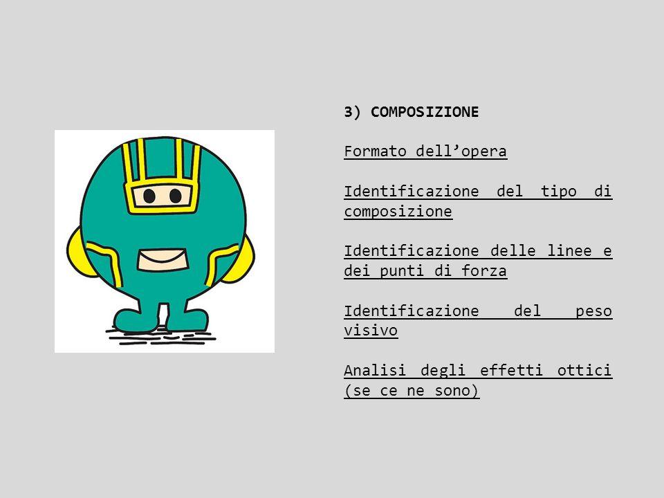3) COMPOSIZIONE Formato dell'opera. Identificazione del tipo di composizione. Identificazione delle linee e dei punti di forza.