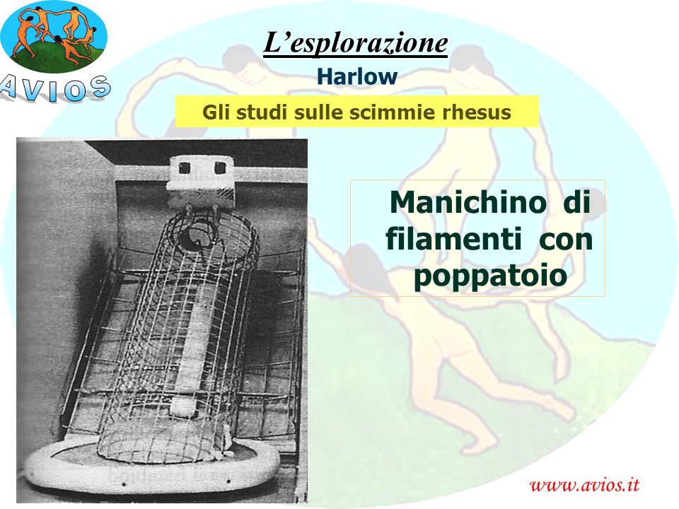 Gli studi sulle scimmie rhesus Manichino di filamenti con poppatoio