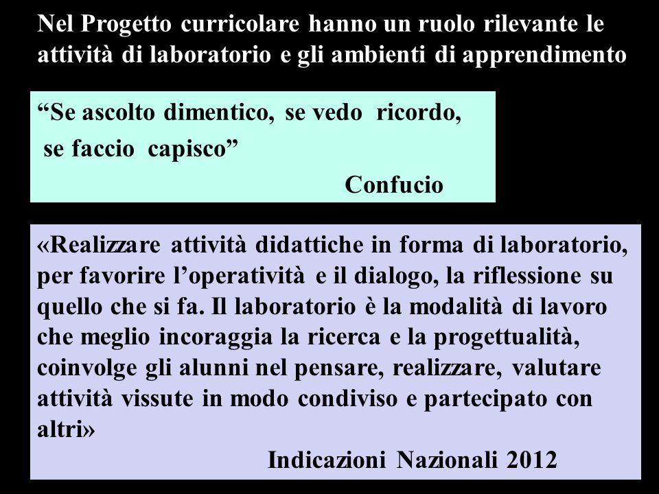 Nel Progetto curricolare hanno un ruolo rilevante le attività di laboratorio e gli ambienti di apprendimento