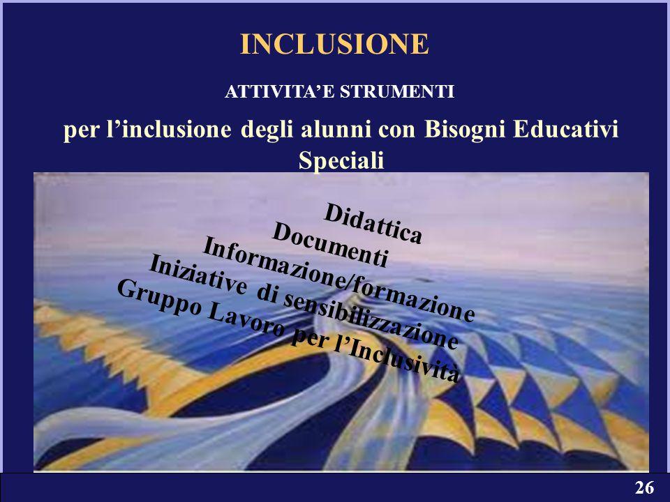 per l'inclusione degli alunni con Bisogni Educativi Speciali