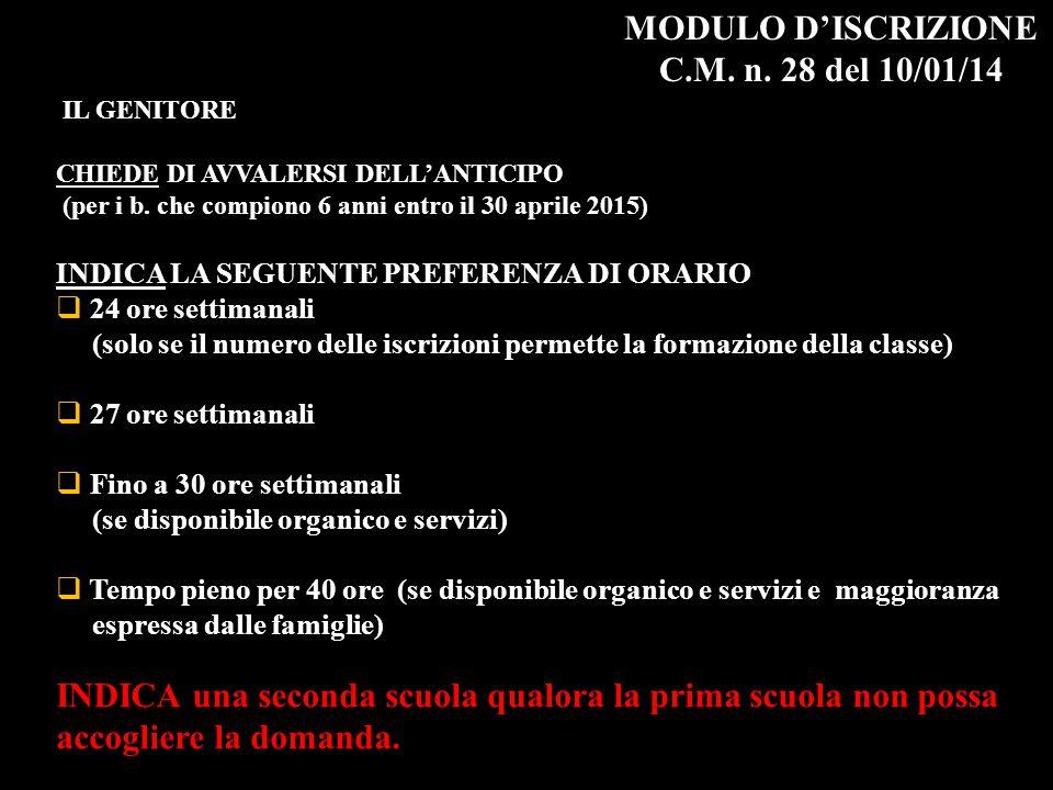 MODULO D'ISCRIZIONE C.M. n. 28 del 10/01/14