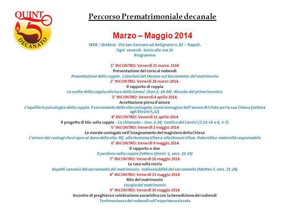 Percorso Prematrimoniale decanale Marzo – Maggio 2014