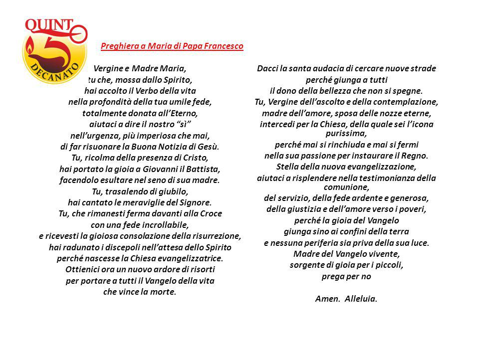 Preghiera a Maria di Papa Francesco Vergine e Madre Maria,
