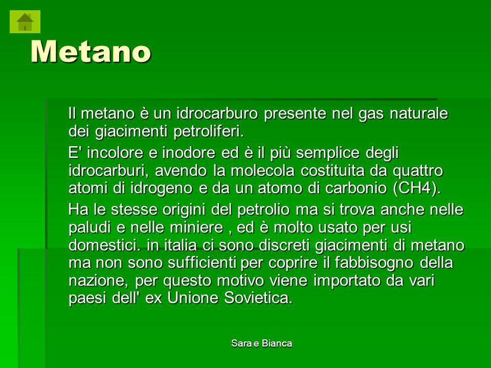 Metano Il metano è un idrocarburo presente nel gas naturale dei giacimenti petroliferi.