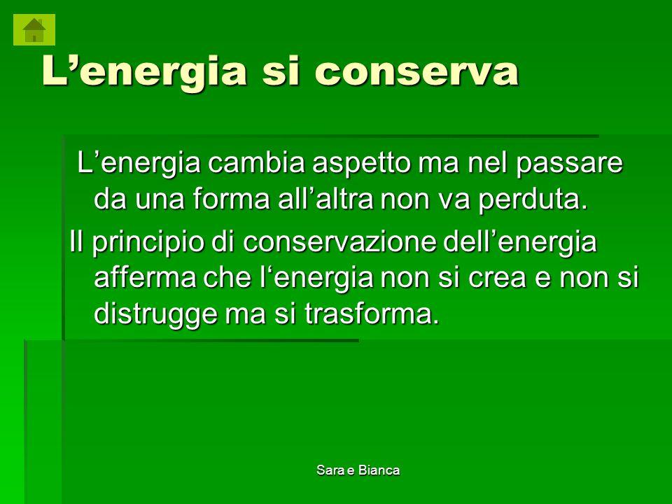 L'energia si conserva L'energia cambia aspetto ma nel passare da una forma all'altra non va perduta.