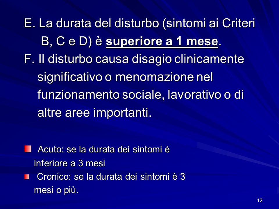E. La durata del disturbo (sintomi ai Criteri