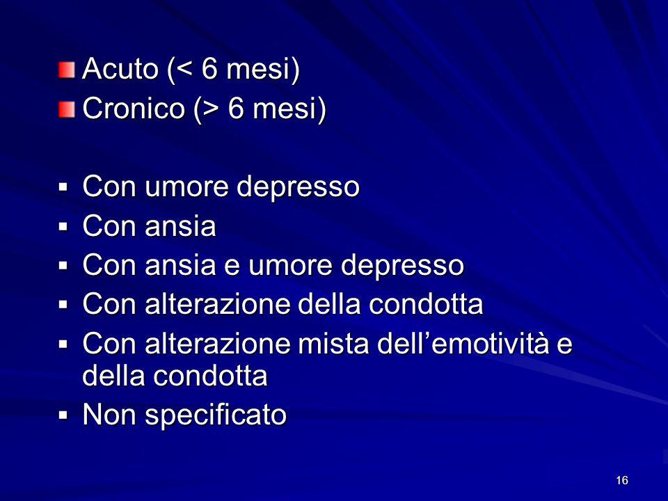 Acuto (< 6 mesi) Cronico (> 6 mesi) Con umore depresso. Con ansia. Con ansia e umore depresso. Con alterazione della condotta.