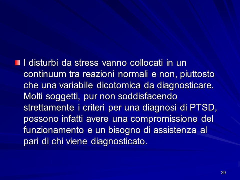 I disturbi da stress vanno collocati in un continuum tra reazioni normali e non, piuttosto che una variabile dicotomica da diagnosticare.