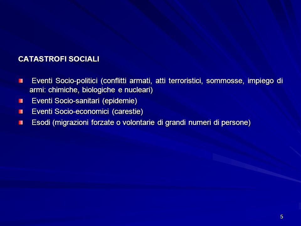 CATASTROFI SOCIALI Eventi Socio-politici (conflitti armati, atti terroristici, sommosse, impiego di armi: chimiche, biologiche e nucleari)