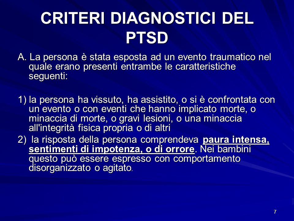 CRITERI DIAGNOSTICI DEL PTSD