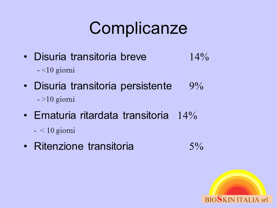 Complicanze Disuria transitoria breve 14%