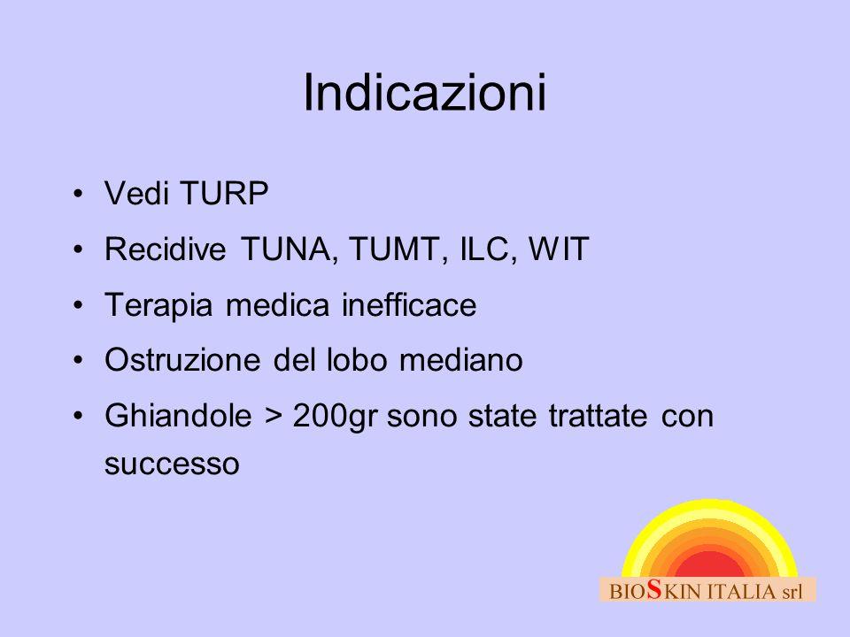 Indicazioni Vedi TURP Recidive TUNA, TUMT, ILC, WIT