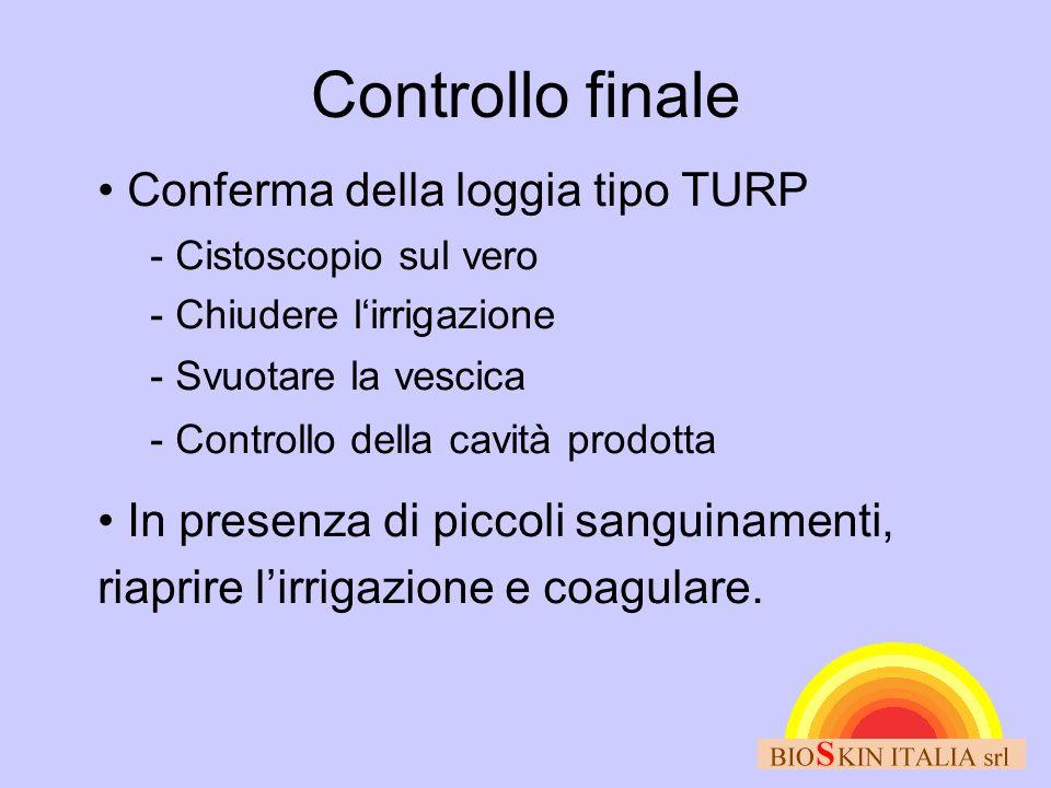 Controllo finale Conferma della loggia tipo TURP