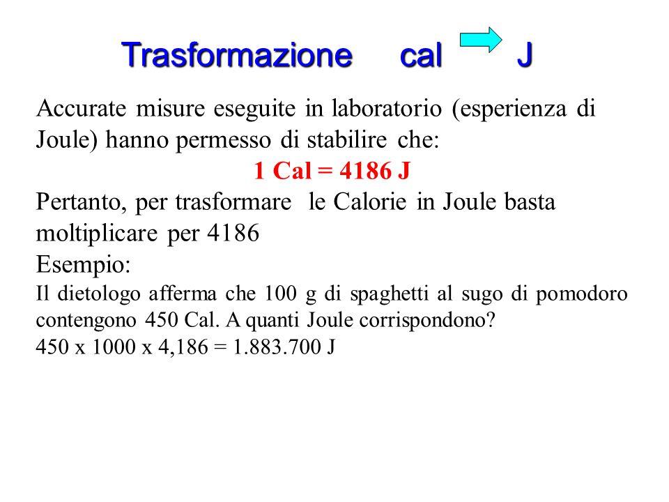 Trasformazione cal J Accurate misure eseguite in laboratorio (esperienza di Joule) hanno permesso di stabilire che: