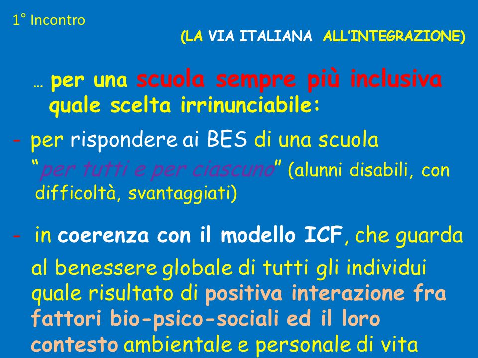 (LA VIA ITALIANA ALL'INTEGRAZIONE)