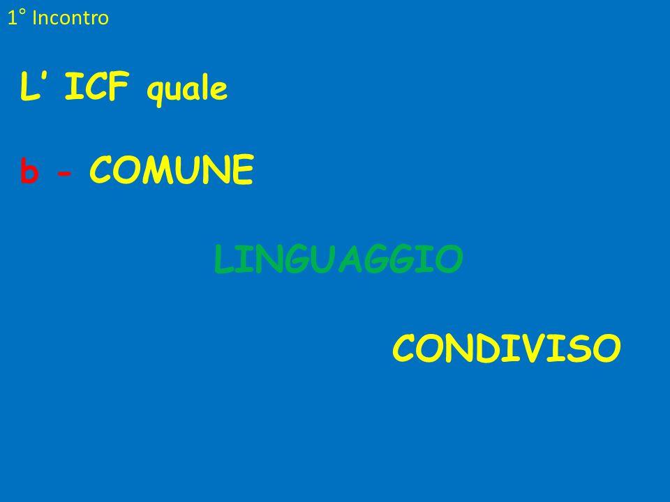 1° Incontro L' ICF quale b - COMUNE LINGUAGGIO CONDIVISO