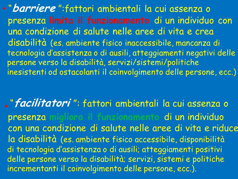 . facilitatori : fattori ambientali la cui assenza o