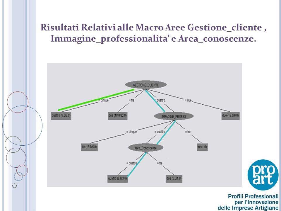 Risultati Relativi alle Macro Aree Gestione_cliente , Immagine_professionalita' e Area_conoscenze.