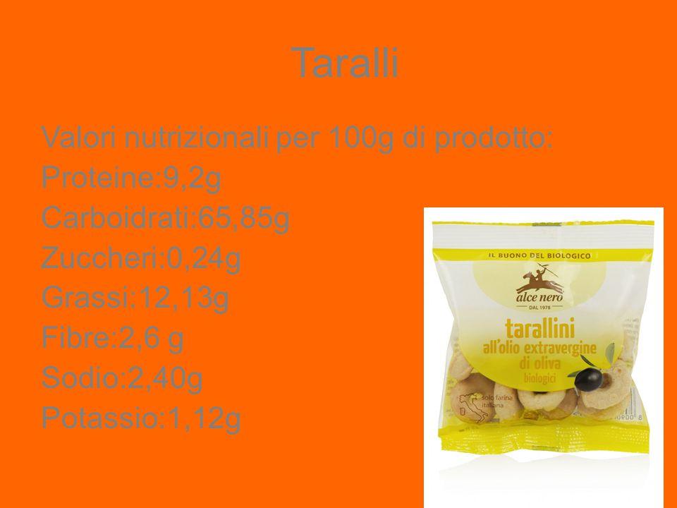 Taralli Valori nutrizionali per 100g di prodotto: Proteine:9,2g