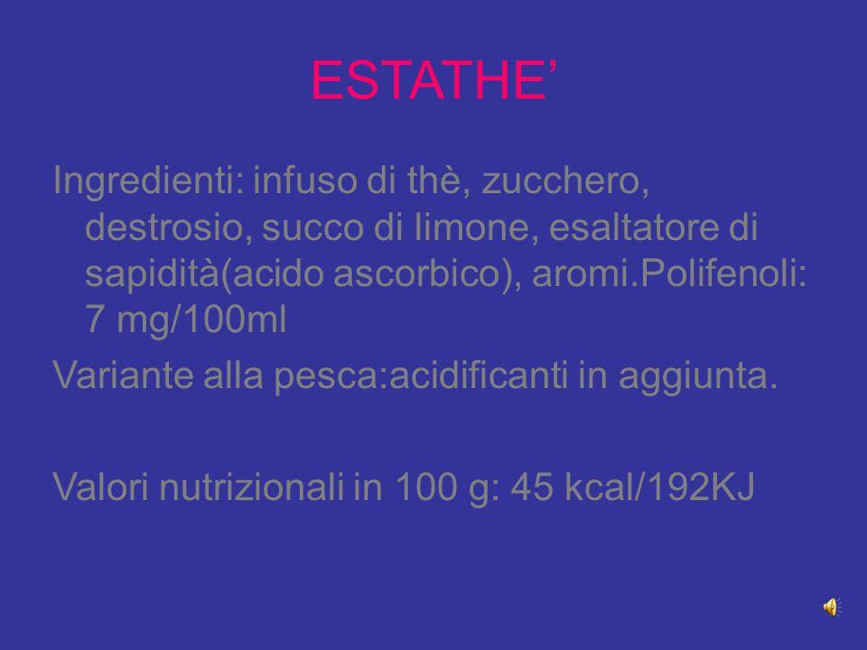 ESTATHE' Ingredienti: infuso di thè, zucchero, destrosio, succo di limone, esaltatore di sapidità(acido ascorbico), aromi.Polifenoli: 7 mg/100ml.