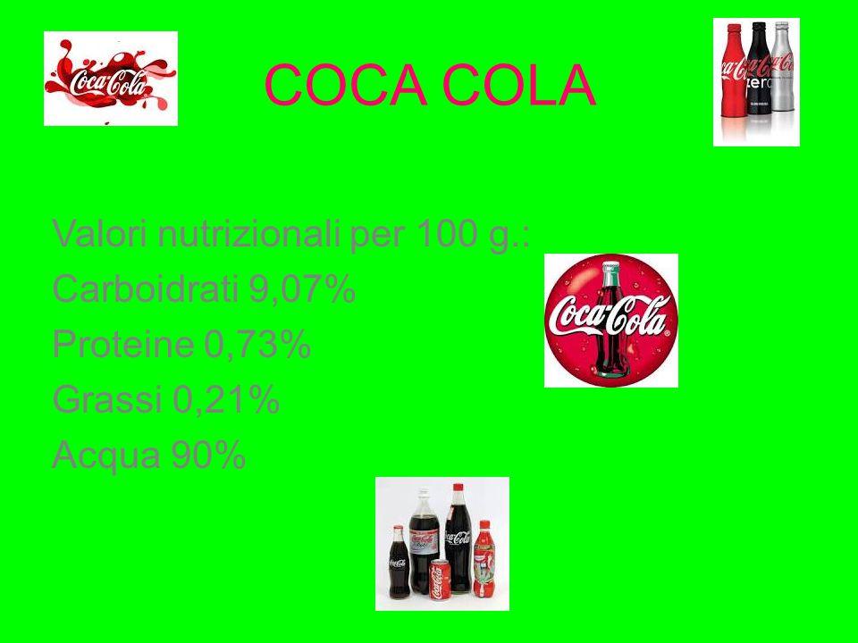 COCA COLA Valori nutrizionali per 100 g.: Carboidrati 9,07%