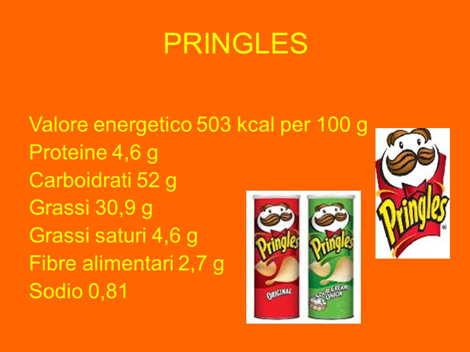 PRINGLES Valore energetico 503 kcal per 100 g Proteine 4,6 g