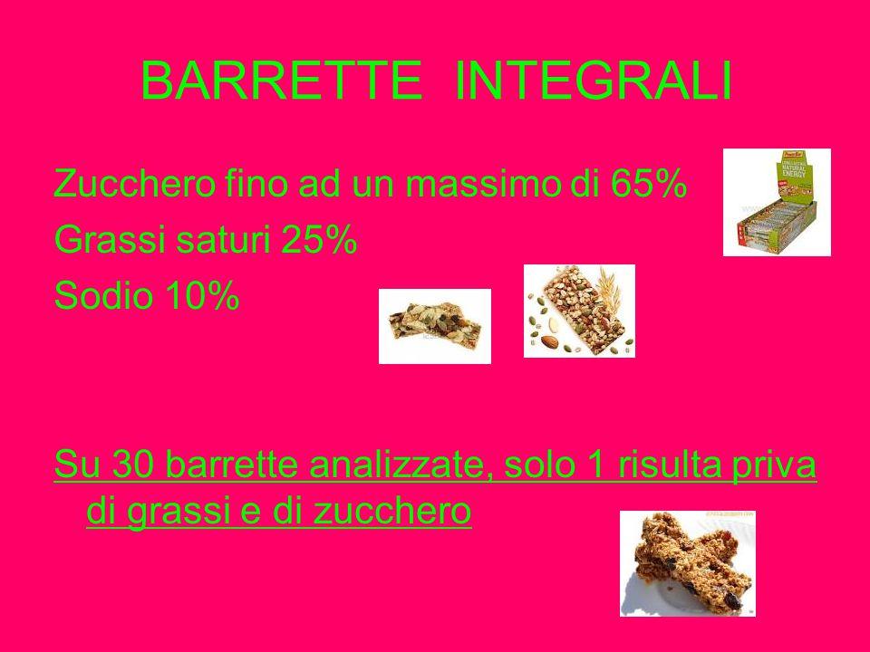 BARRETTE INTEGRALI Zucchero fino ad un massimo di 65%