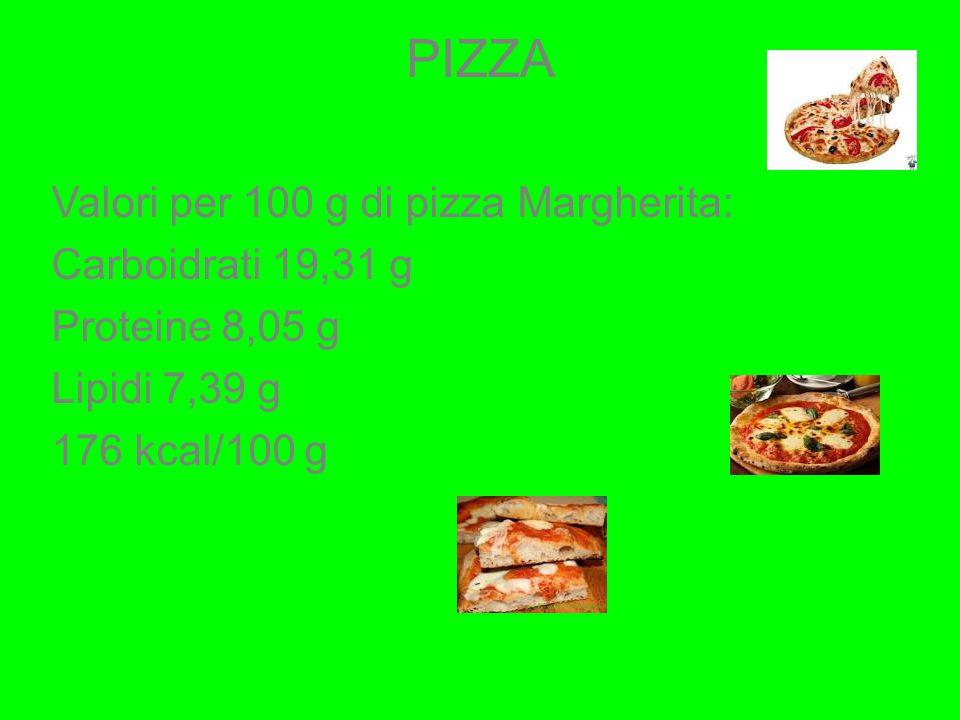 PIZZA Valori per 100 g di pizza Margherita: Carboidrati 19,31 g