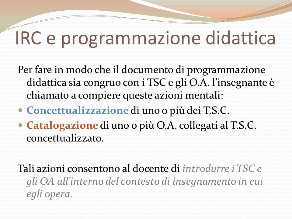 IRC e programmazione didattica
