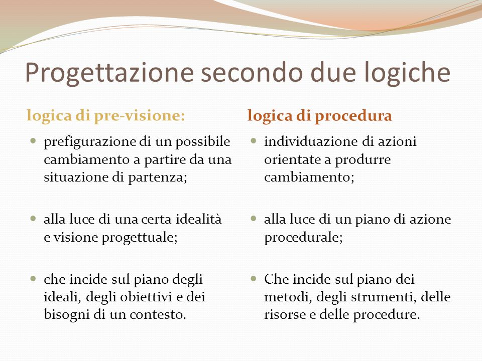 Progettazione secondo due logiche