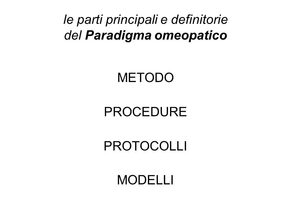 le parti principali e definitorie del Paradigma omeopatico