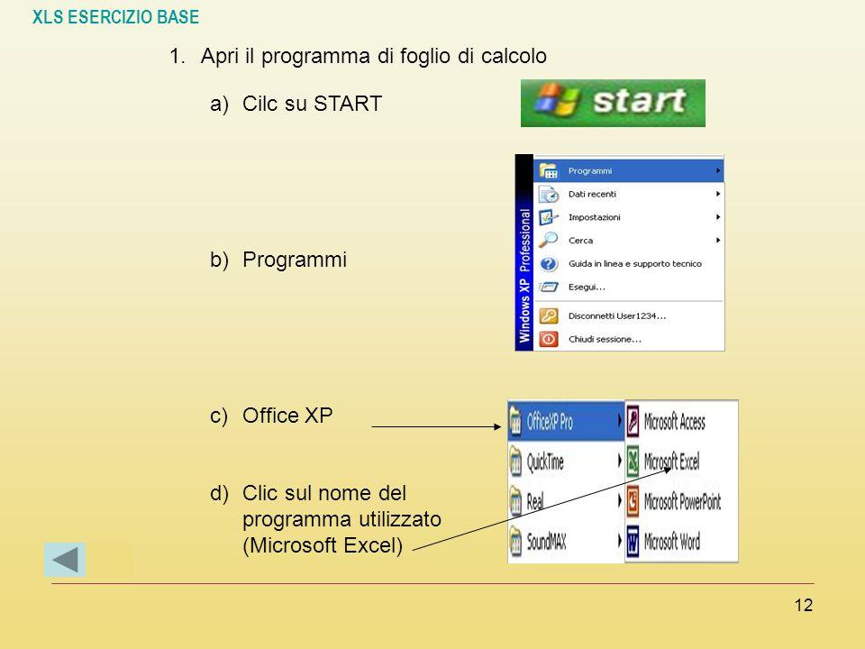 Apri il programma di foglio di calcolo