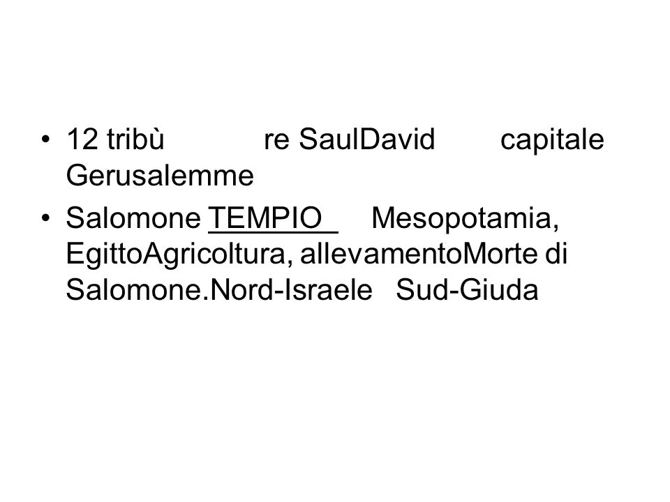 12 tribù re SaulDavid capitale Gerusalemme