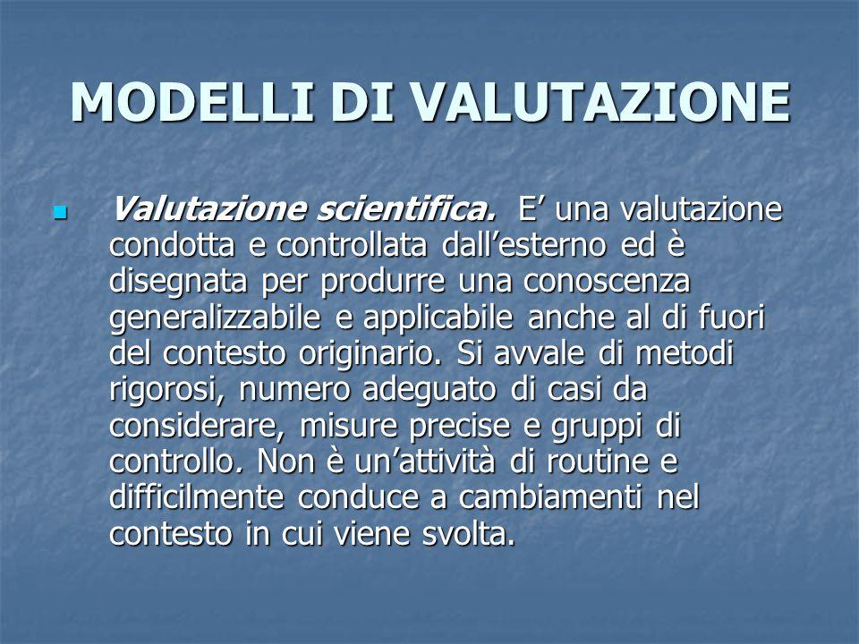 MODELLI DI VALUTAZIONE