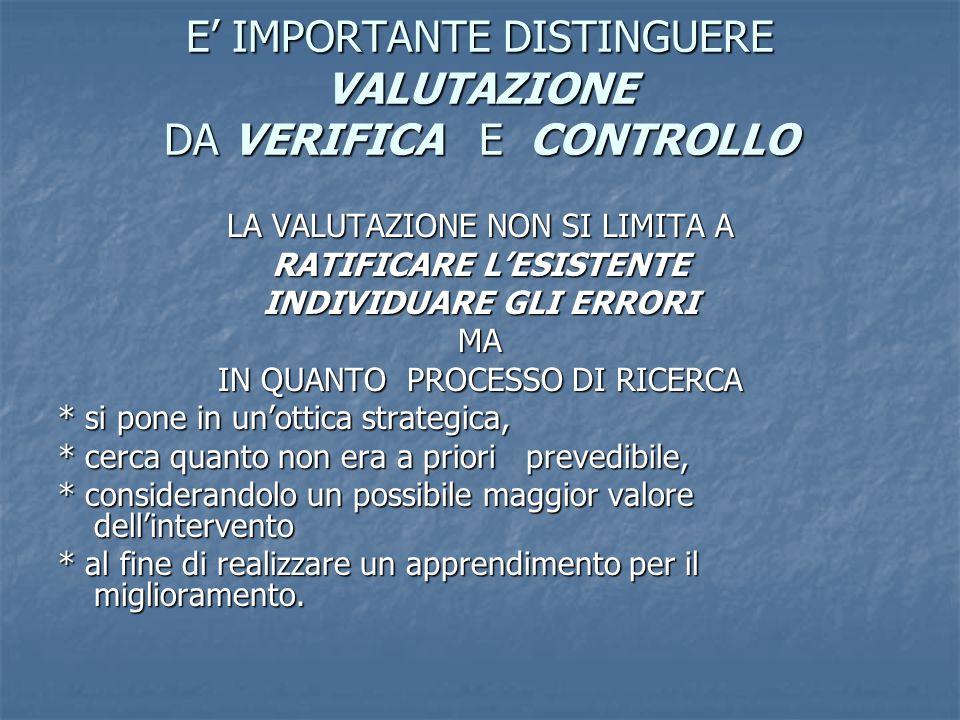 E' IMPORTANTE DISTINGUERE VALUTAZIONE DA VERIFICA E CONTROLLO